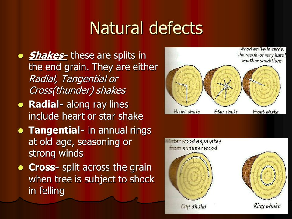 Natural defects Shakes- these are splits in the end grain. They are either Radial, Tangential or Cross(thunder) shakes.