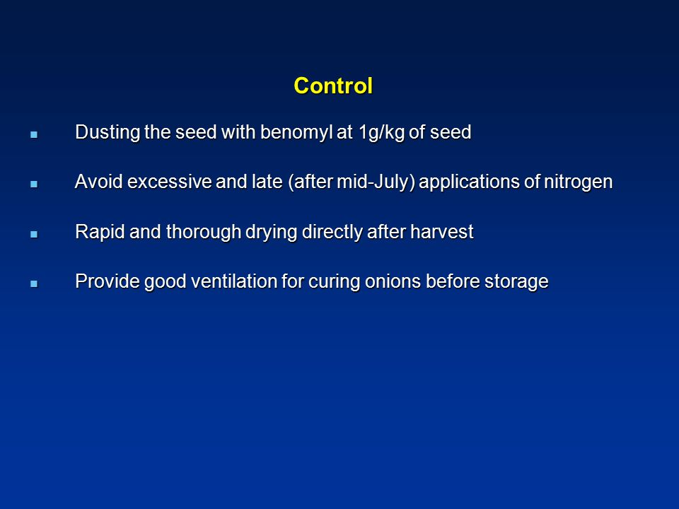 Control Dusting the seed with benomyl at 1g/kg of seed