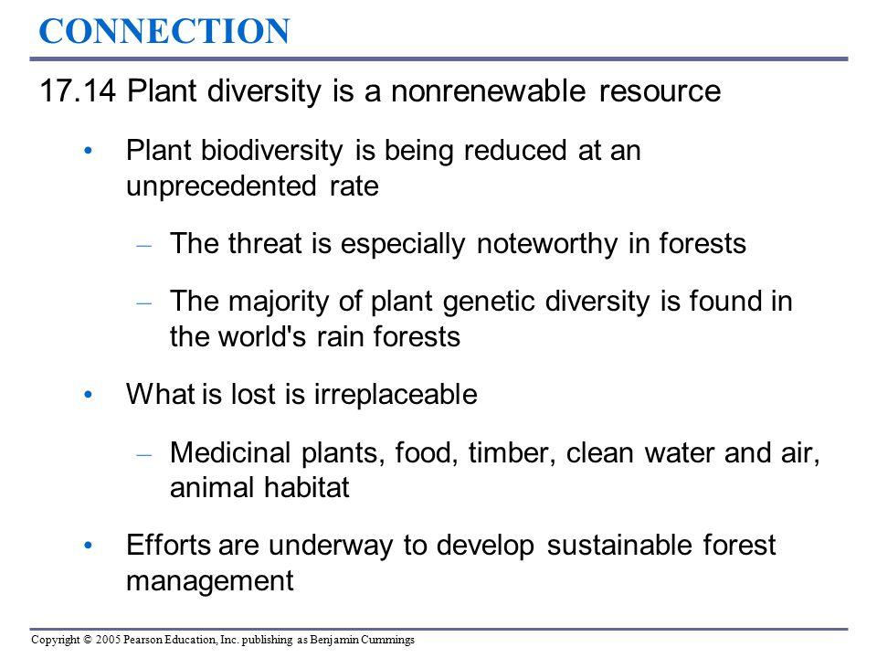 CONNECTION 17.14 Plant diversity is a nonrenewable resource