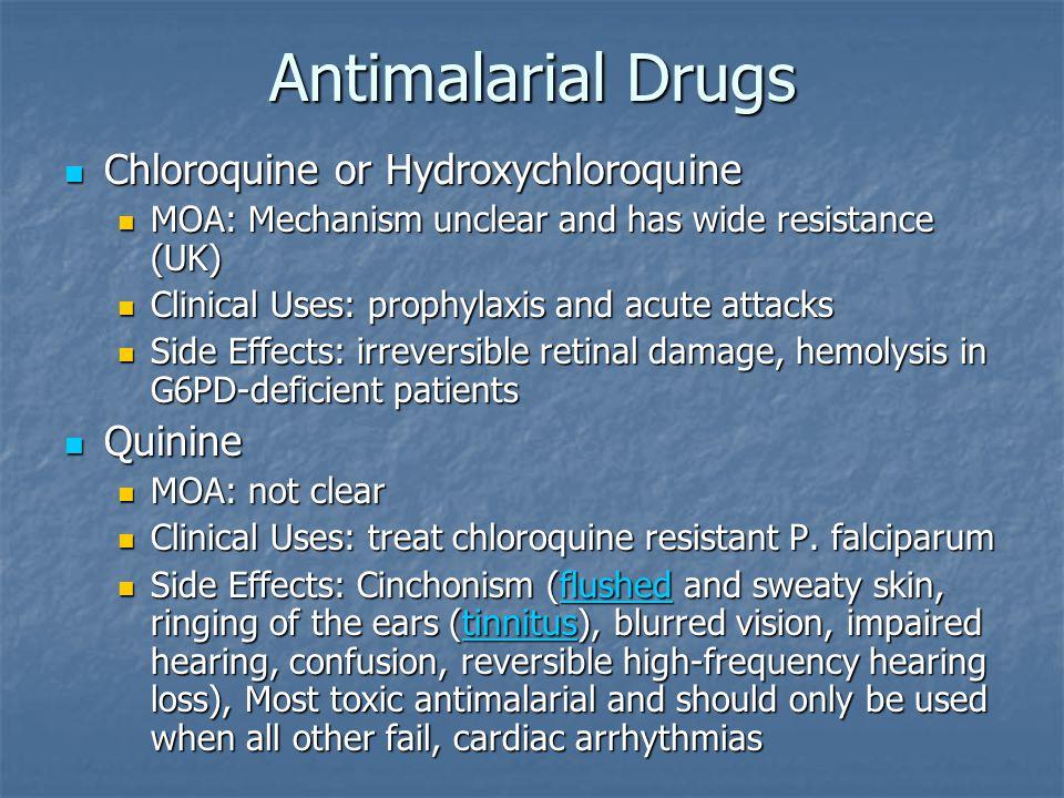 Antimalarial Drugs Chloroquine or Hydroxychloroquine Quinine