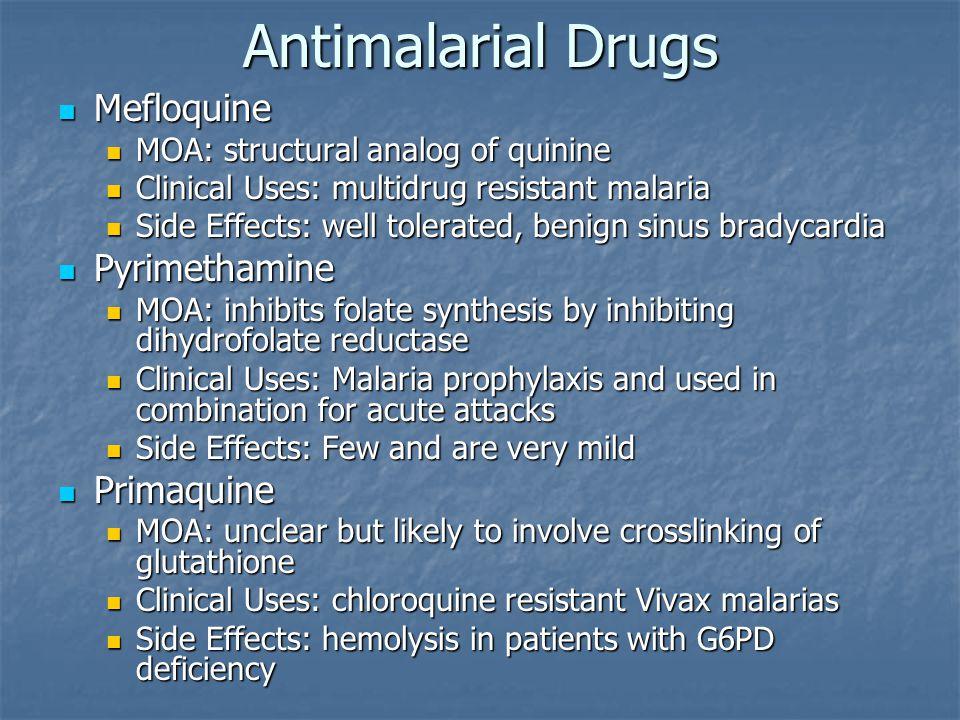 Antimalarial Drugs Mefloquine Pyrimethamine Primaquine