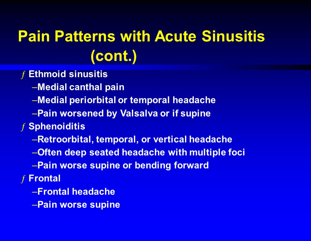 Pain Patterns with Acute Sinusitis (cont.)