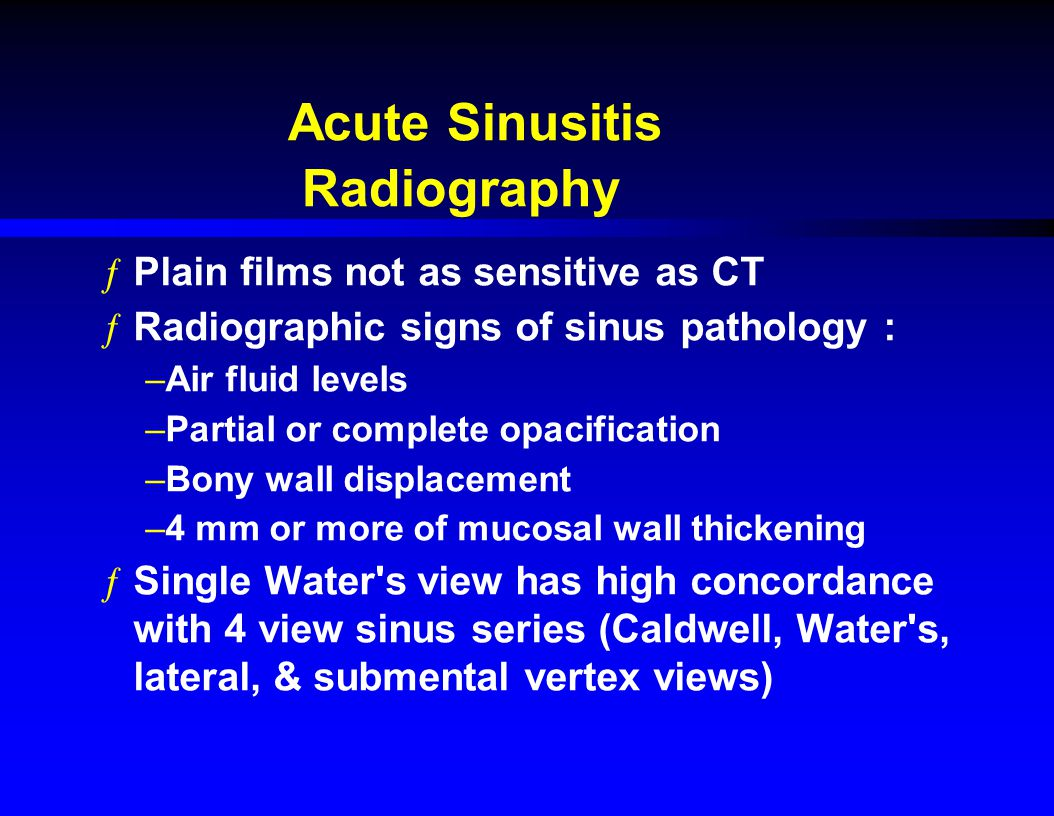 Acute Sinusitis Radiography Plain films not as sensitive as CT