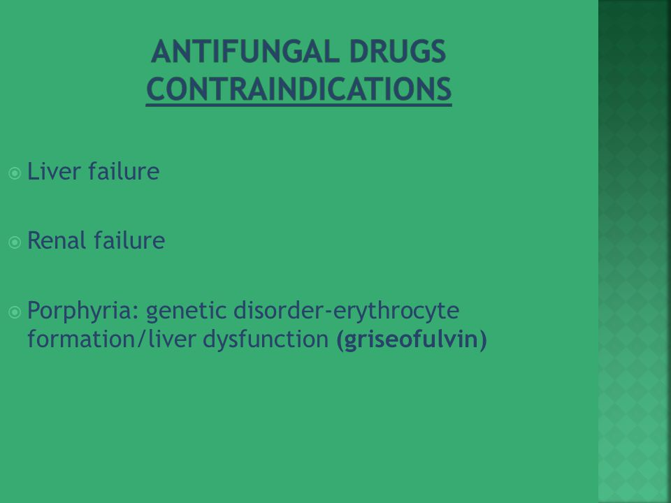 Antifungal Drugs Contraindications