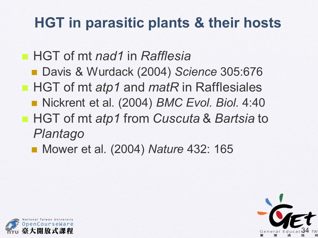 HGT in parasitic plants & their hosts
