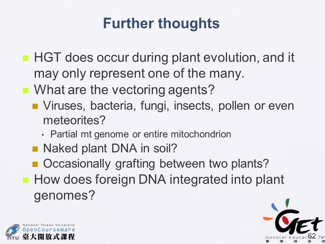 Further thoughts HGT does occur during plant evolution, and it may only represent one of the many. What are the vectoring agents