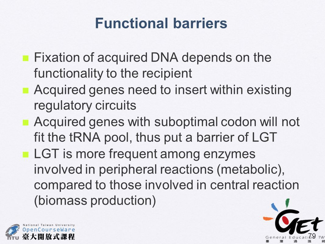 Functional barriers Fixation of acquired DNA depends on the functionality to the recipient.