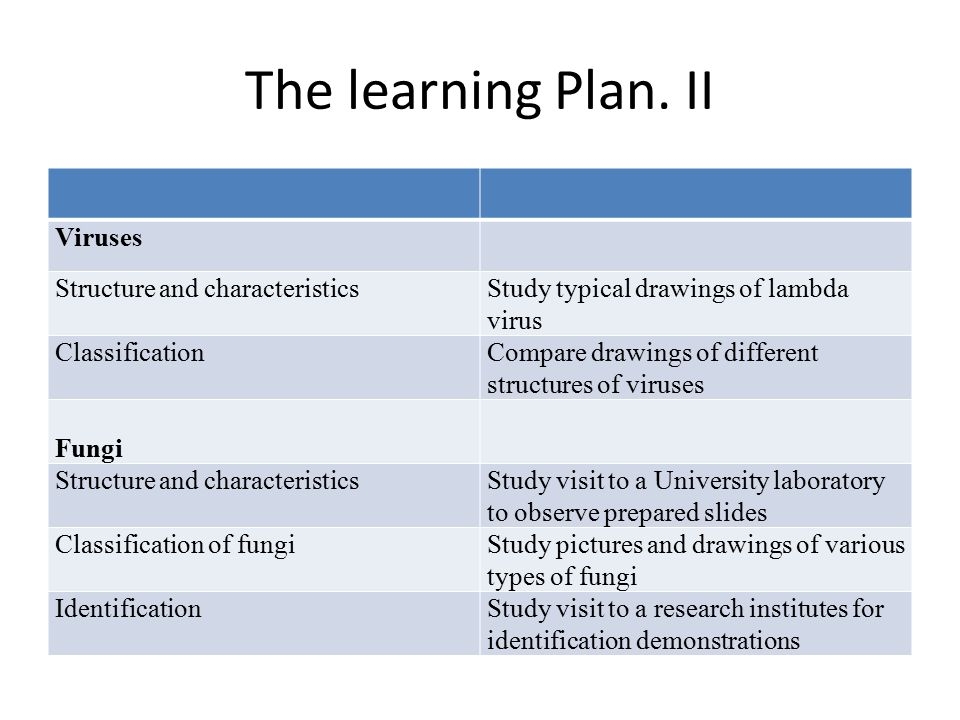The learning Plan. II Viruses Structure and characteristics