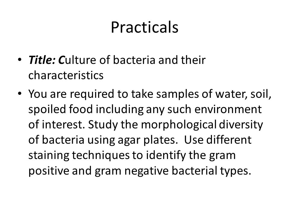 Practicals Title: Culture of bacteria and their characteristics