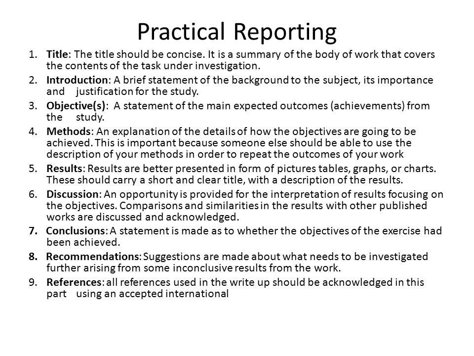 Practical Reporting