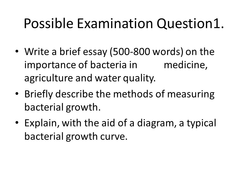 Possible Examination Question1.