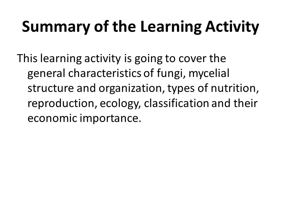 Summary of the Learning Activity