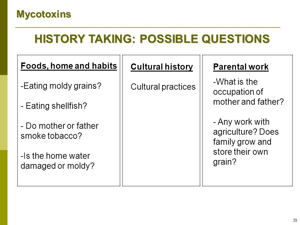 HISTORY TAKING: POSSIBLE QUESTIONS