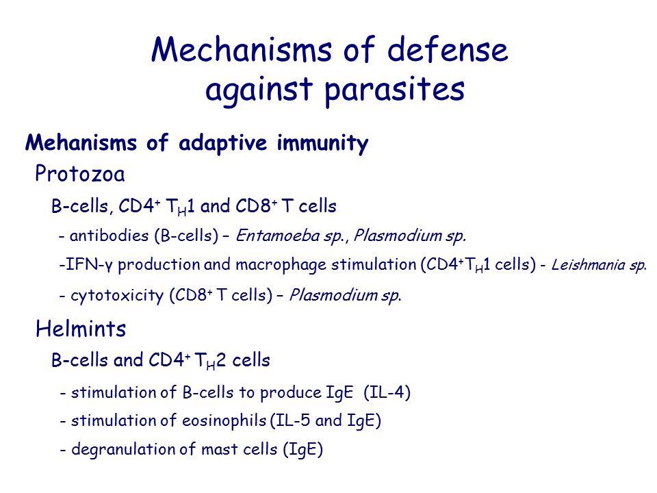 Mechanisms of defense against parasites Mehanisms of adaptive immunity