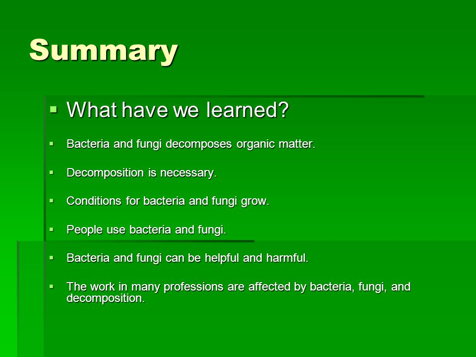 Summary What have we learned