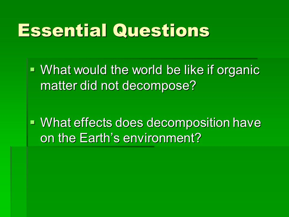 Essential Questions What would the world be like if organic matter did not decompose