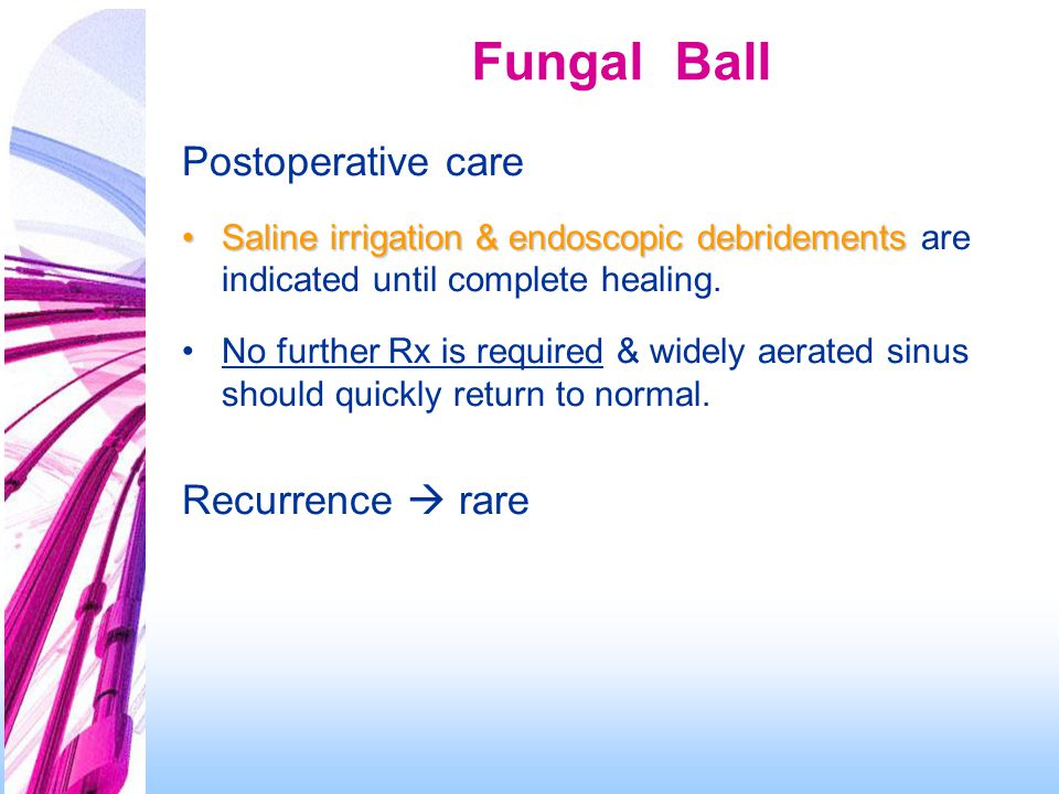 Fungal Ball Postoperative care Recurrence  rare