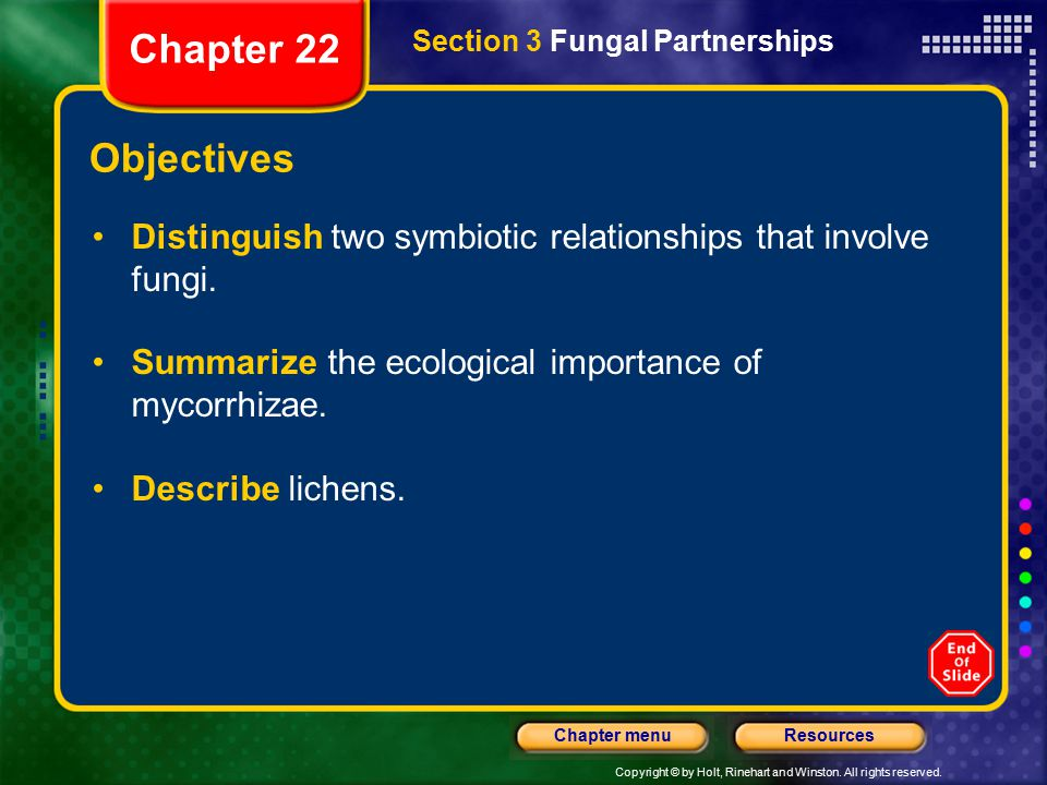 Chapter 22 Section 3 Fungal Partnerships. Objectives. Distinguish two symbiotic relationships that involve fungi.