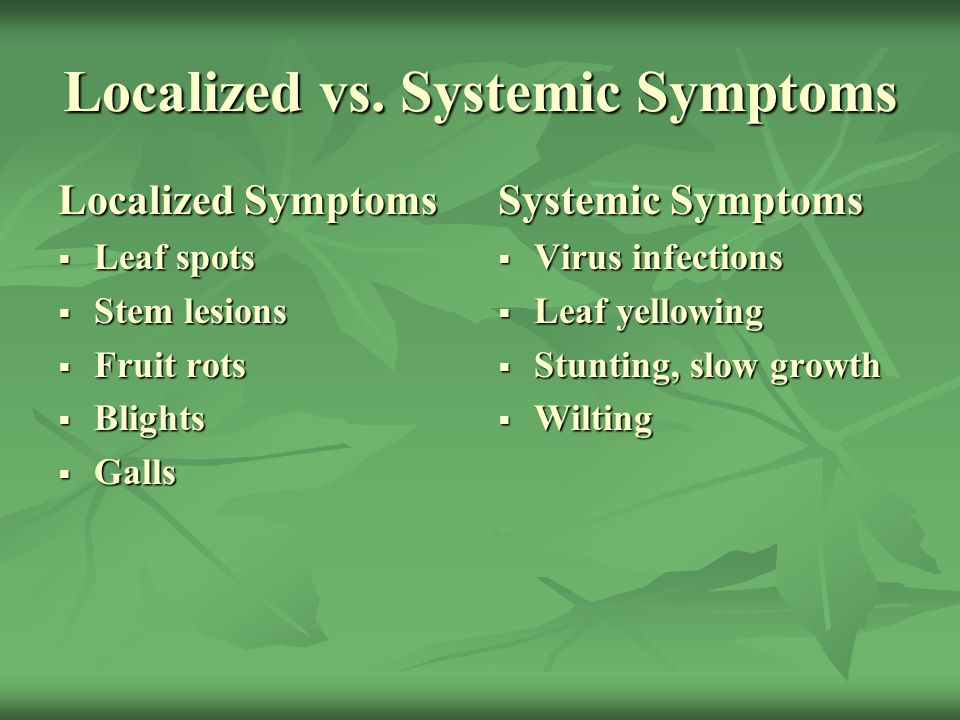 Localized vs. Systemic Symptoms