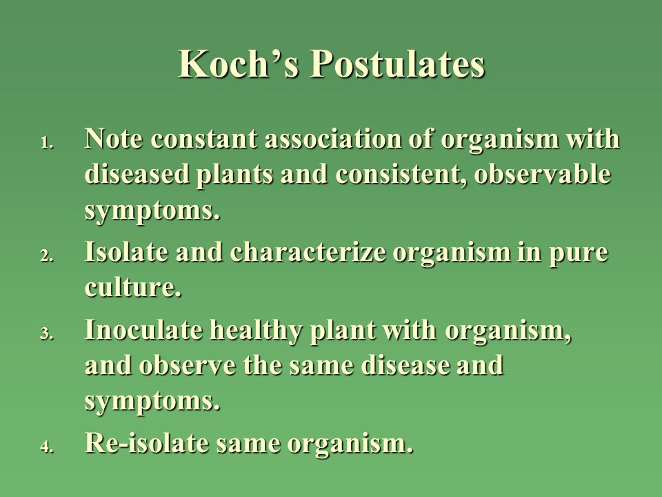 Koch's Postulates Note constant association of organism with diseased plants and consistent, observable symptoms.