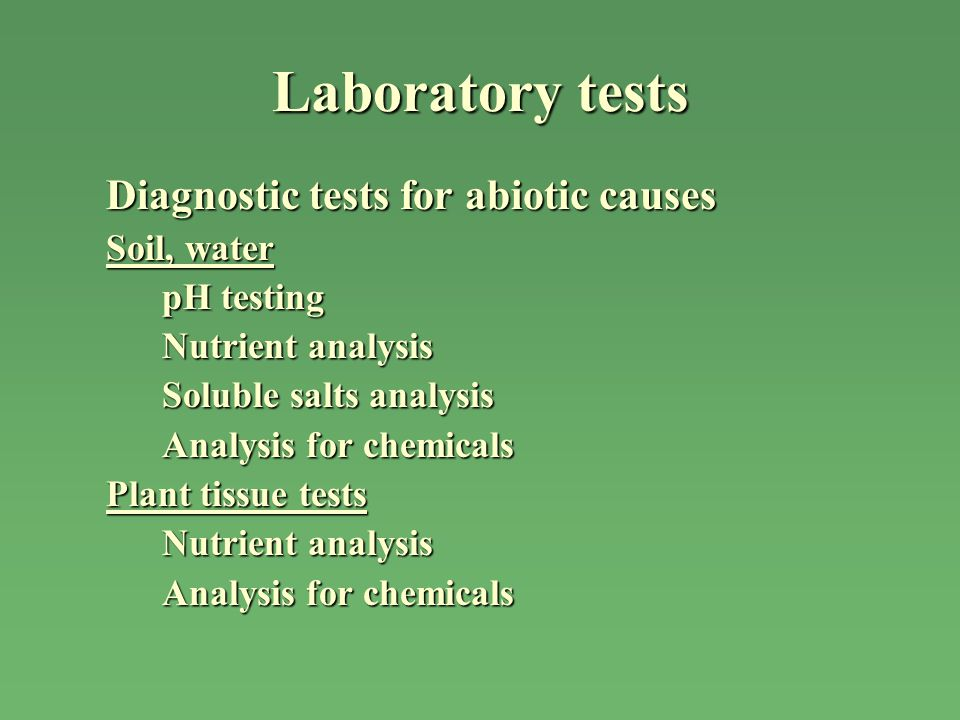 Laboratory tests Diagnostic tests for abiotic causes Soil, water