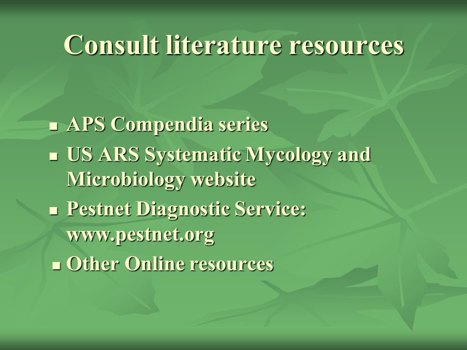 Consult literature resources