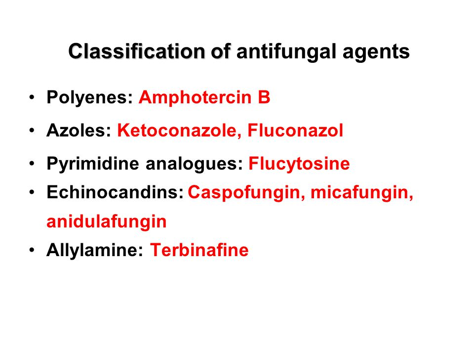 Classification of antifungal agents