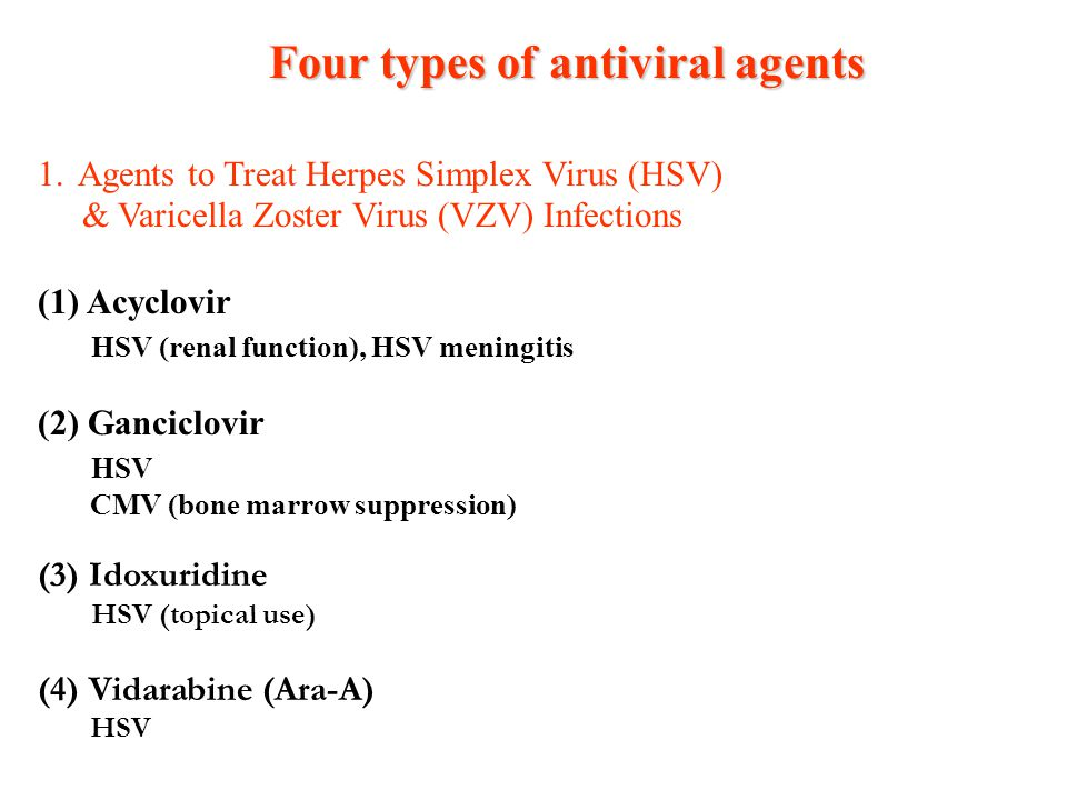 Four types of antiviral agents
