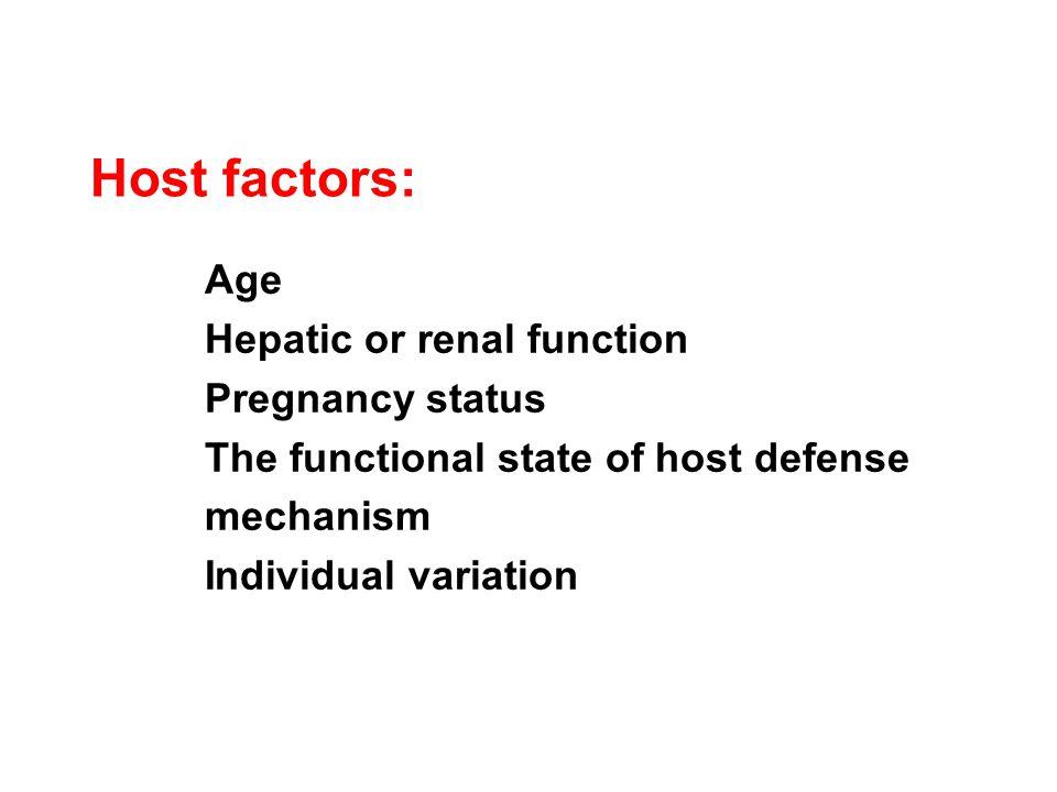 Host factors: Age Hepatic or renal function Pregnancy status