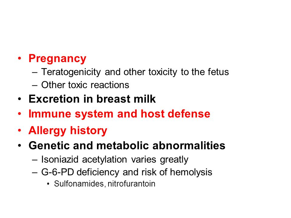 Excretion in breast milk Immune system and host defense