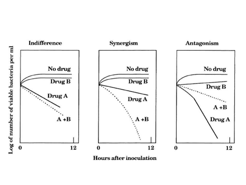 The responses of bacteria suspended in growth medium to exposure to drug A or B alone are represented by the solid lines.