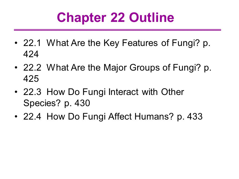 Chapter 22 Outline 22.1 What Are the Key Features of Fungi p. 424