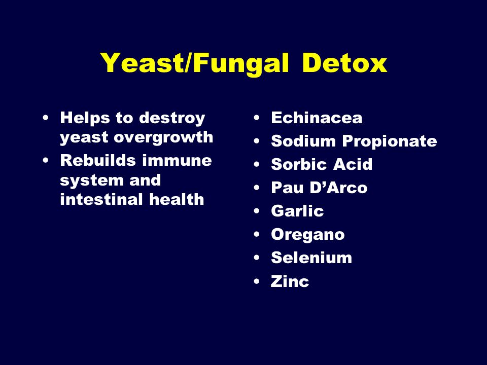 Yeast/Fungal Detox Helps to destroy yeast overgrowth