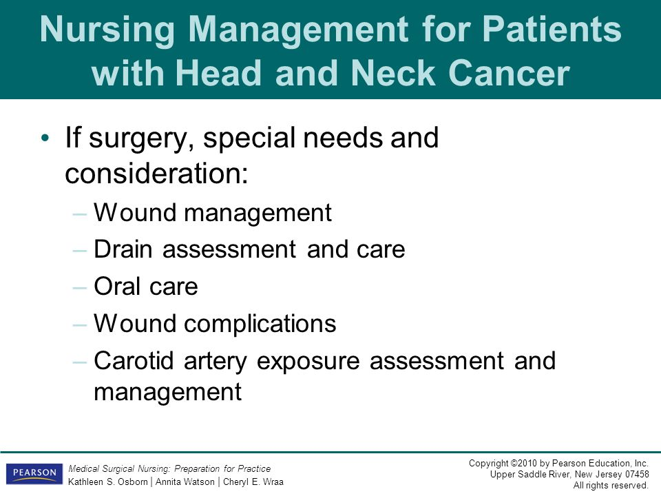 Nursing Management for Patients with Head and Neck Cancer