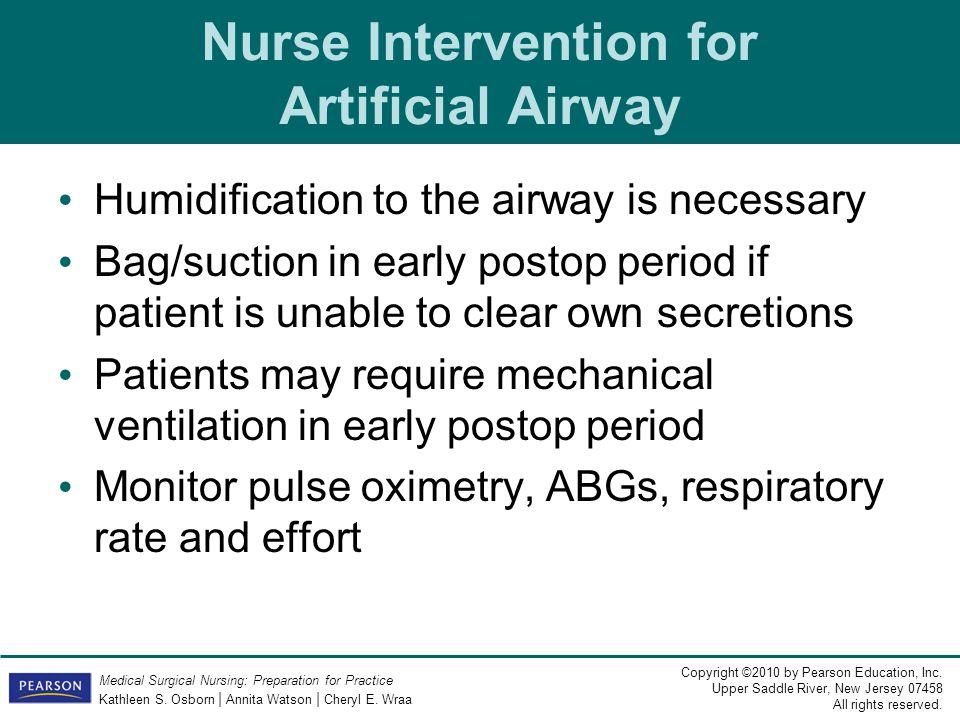 Nurse Intervention for Artificial Airway