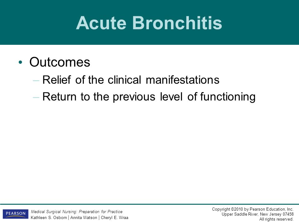 Acute Bronchitis Outcomes Relief of the clinical manifestations