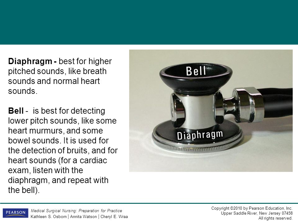Diaphragm - best for higher pitched sounds, like breath sounds and normal heart sounds.
