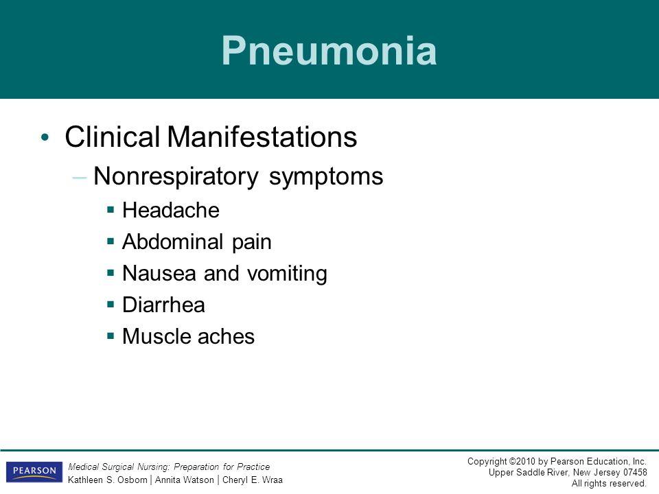 Pneumonia Clinical Manifestations Nonrespiratory symptoms Headache
