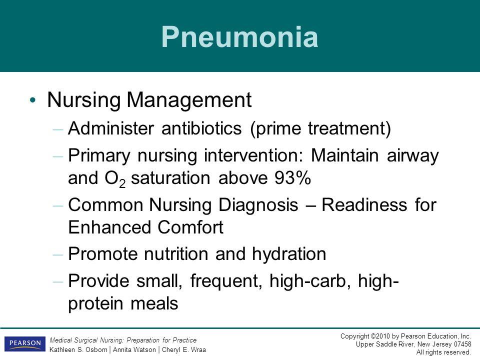 Pneumonia Nursing Management Administer antibiotics (prime treatment)