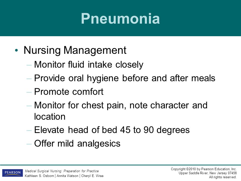 Pneumonia Nursing Management Monitor fluid intake closely