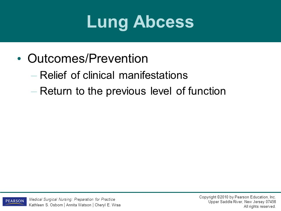 Lung Abcess Outcomes/Prevention Relief of clinical manifestations