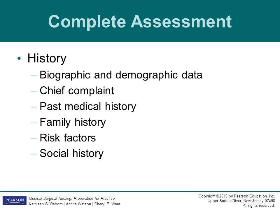 Complete Assessment History Biographic and demographic data