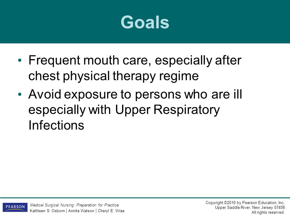 Goals Frequent mouth care, especially after chest physical therapy regime.