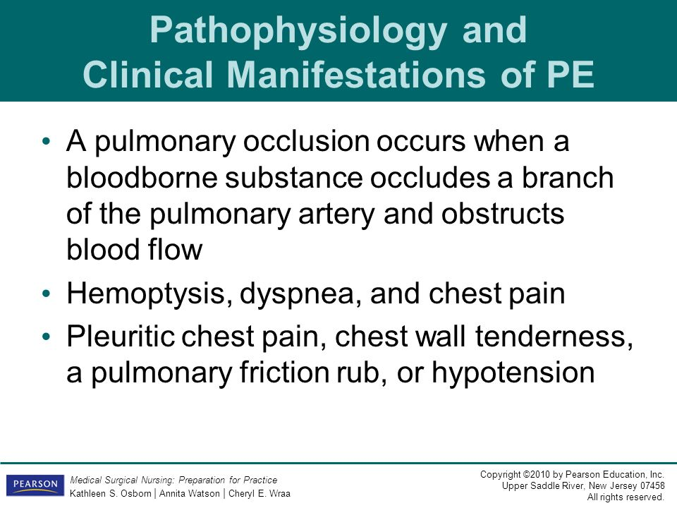 Pathophysiology and Clinical Manifestations of PE