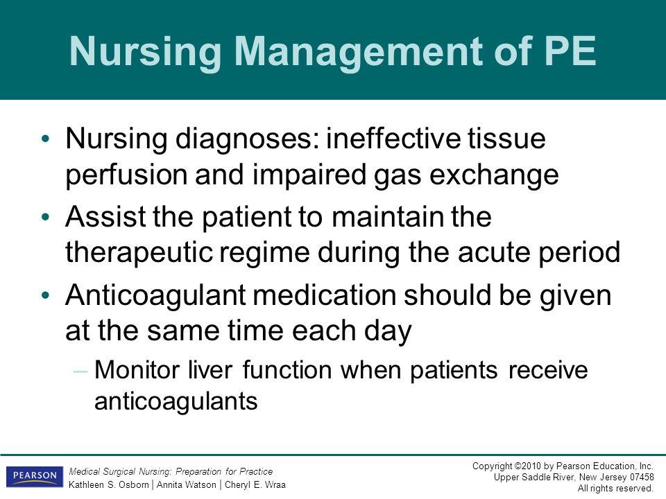 Nursing Management of PE