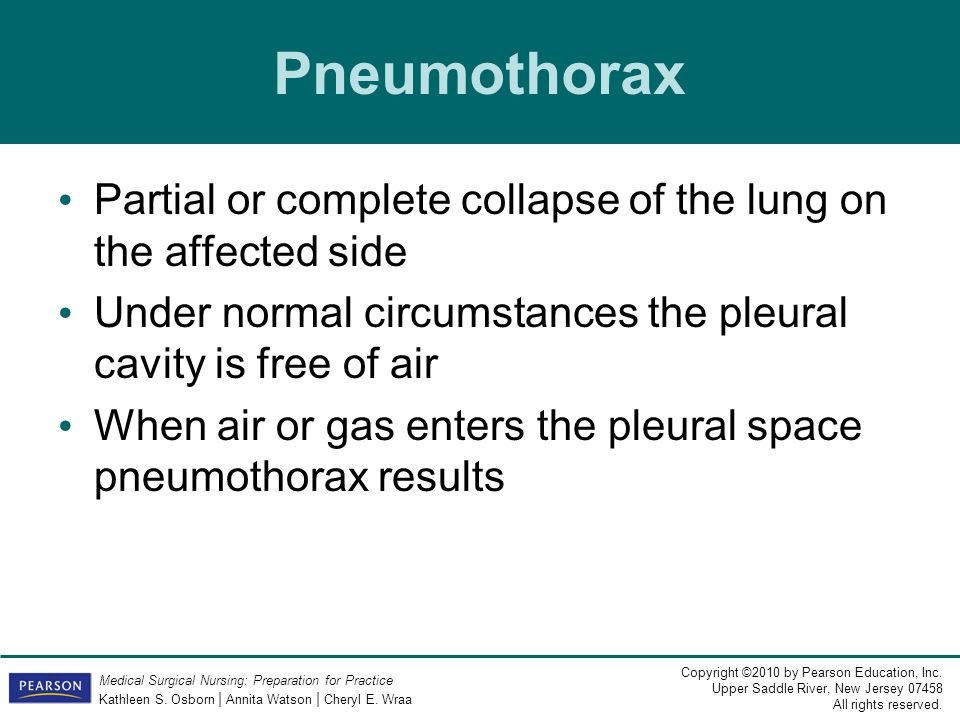 Pneumothorax Partial or complete collapse of the lung on the affected side. Under normal circumstances the pleural cavity is free of air.