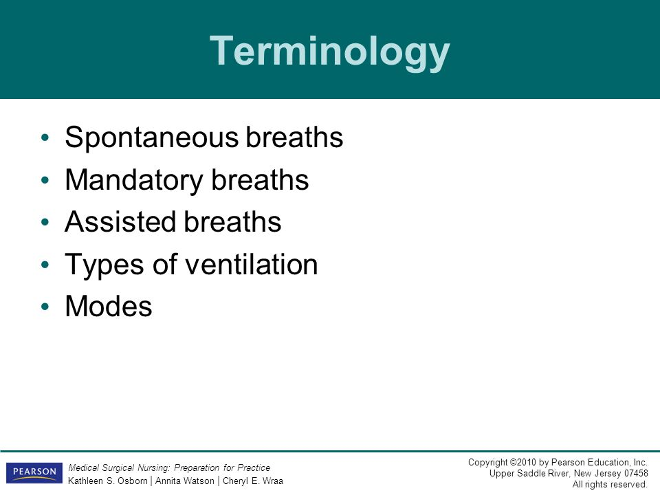 Terminology Spontaneous breaths Mandatory breaths Assisted breaths