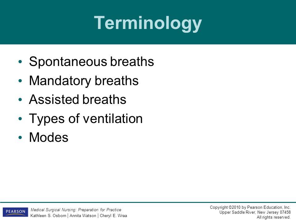 Terminology Spontaneous breaths Mandatory breaths Assisted breaths