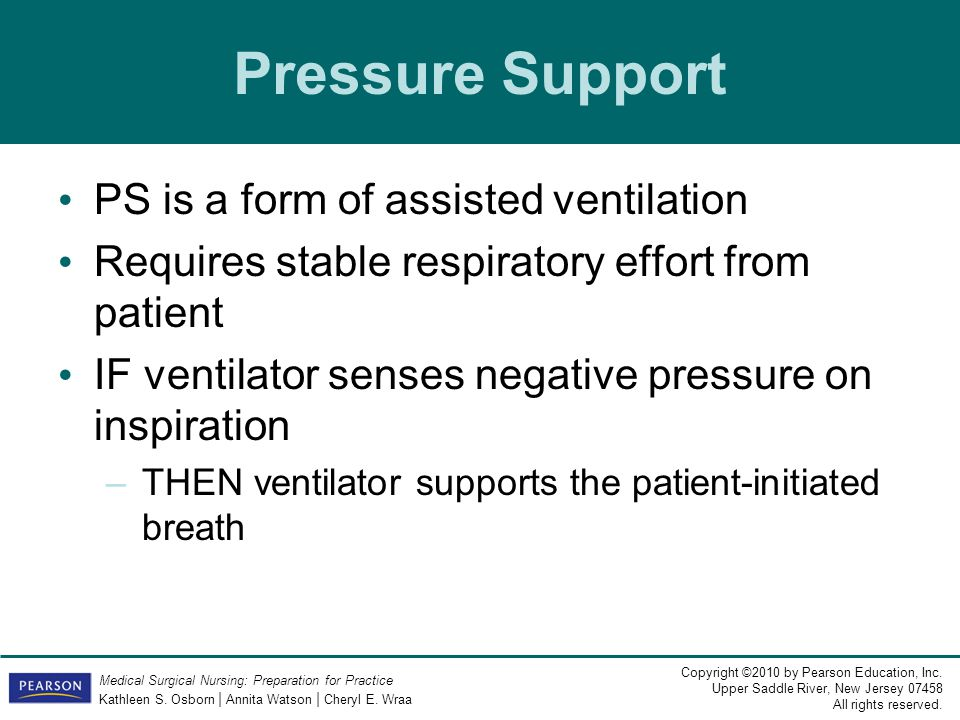 Pressure Support PS is a form of assisted ventilation