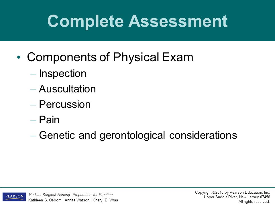 Complete Assessment Components of Physical Exam Inspection